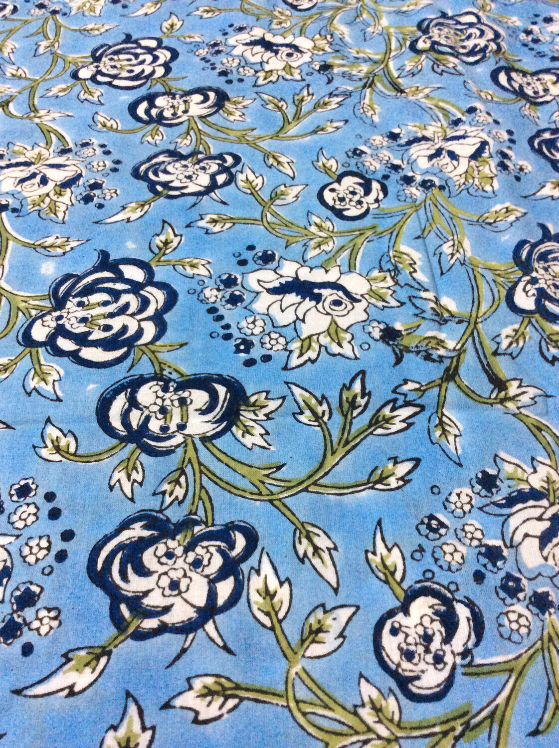 Blue Block Print Floral Print Cotton Fabric - Lightweight - 44 inches wide