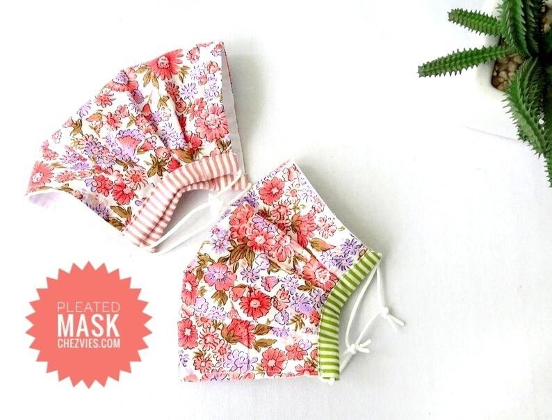 Handmade  Floral Pleated Cotton Face Mask - 2 Ply - Pre Order