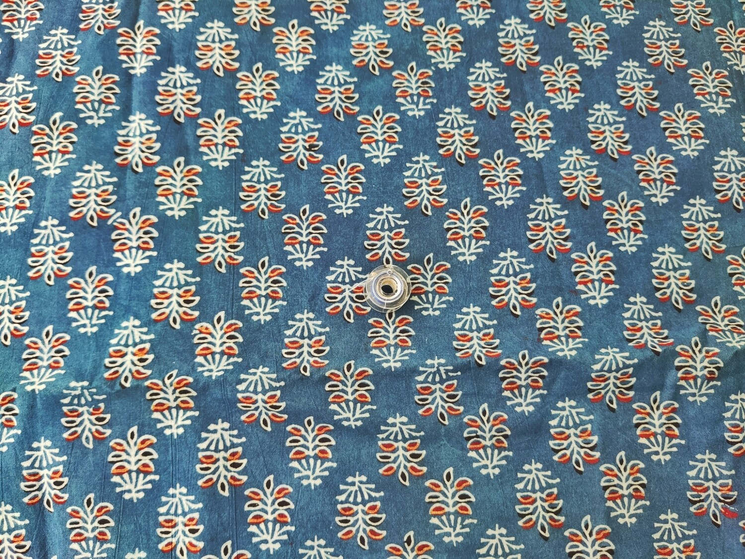 Indigo Ajrakh Block Print - Small Floral Cotton Fabric - Sold by Half Meter - 44 Inches Wide