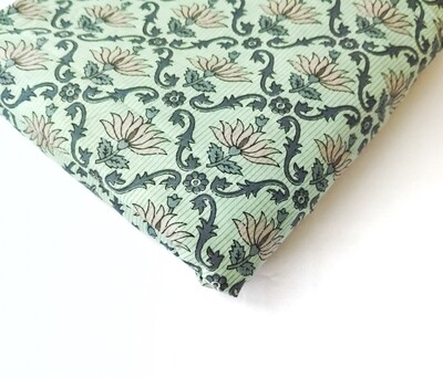 Lotus Print Cotton Fabric - Teal Green - 44 inches wide - sold by half meter