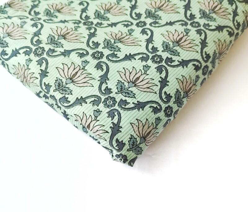 Lotus Print Cotton Fabric - Teal Green