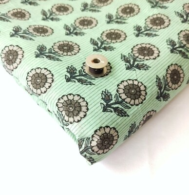 Teal green marigold  print cotton fabric  - 44 inches wide - sold by half meter