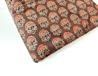 Brown Floral Block Print Cotton Fabric - 44 inches wide -sold by half meter