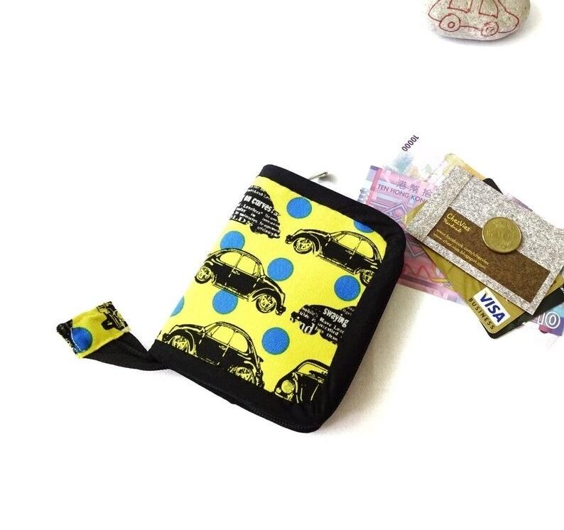 Zip Around Mini Bifold Wallet - Car Print