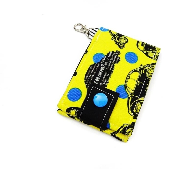 Key and Card Holder Mini Wallet - car print yellow1