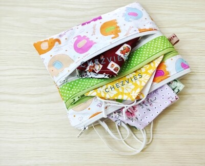 Multi Zipper Bag for Organizer -  Cute Elephant Triple Zip Bag