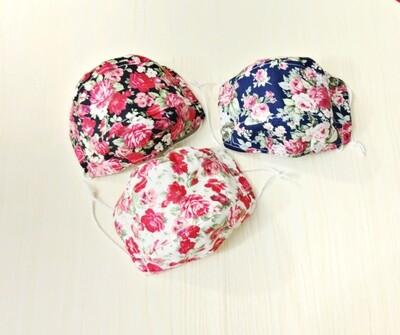 Floral 3D Spacious Handmade Face Mask - 2 layers linen cotton - Rose Print