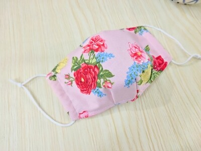 Rose Print 3D Fitted Face Mask - 2 Layers