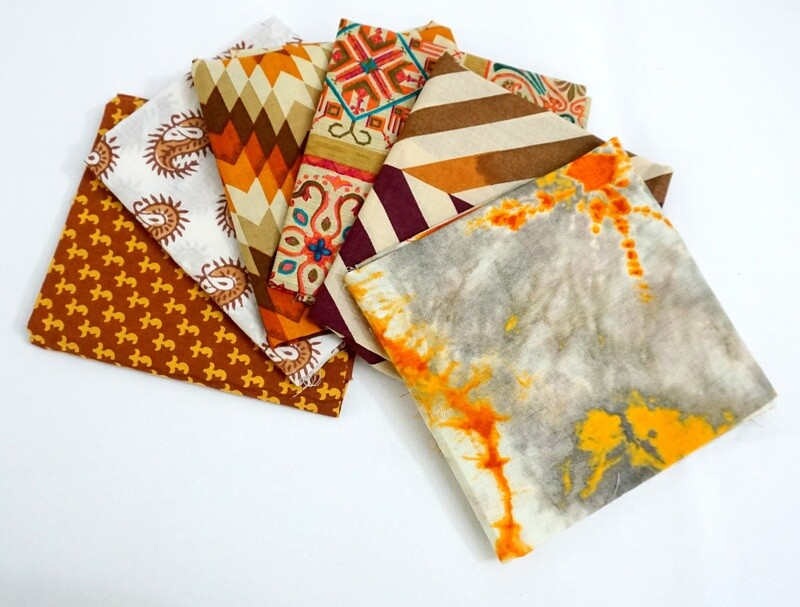 Brown Rustic Fat Quarter Bundle - Indian block print cotton fabric - 6 Fat Quarter Fabrics