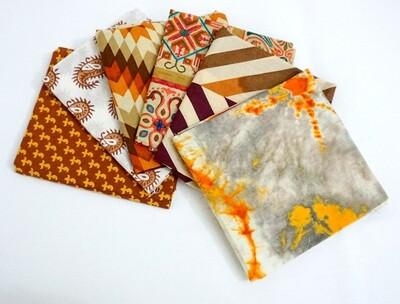 Brown Rustic Fat Quarter Bundle - Indian block print cotton fabric - 6 Fat Quarter Fabrics