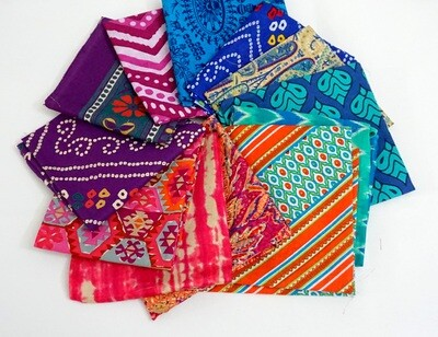 Vibrant Fat Quarter Bundle - Indian block print cotton fabric - set of 12 Fat Quarter Fabrics
