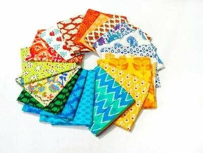 Mix Color Fat Quarter Bundle - Indian block print cotton fabric - set of 18 Fat Quarter Fabrics