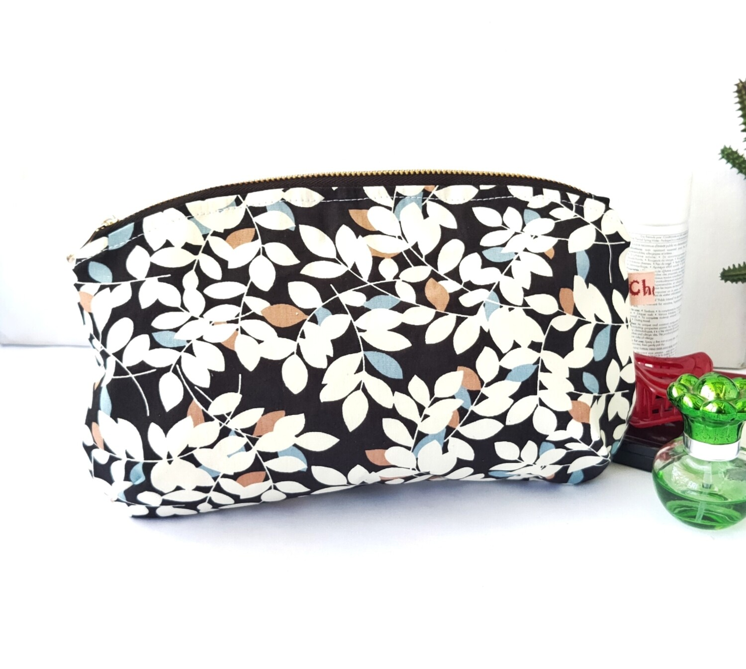 Large Zipper Clutch - Black Floral Print