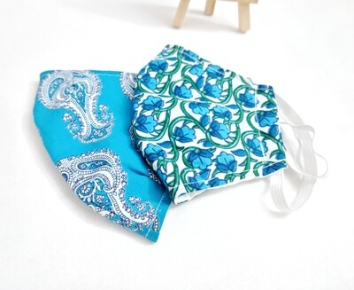 Blue floral cotton face masks