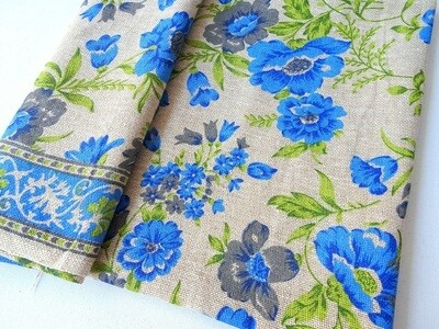 Floral Print jute burlap-  pansies flower print - sold by half meter