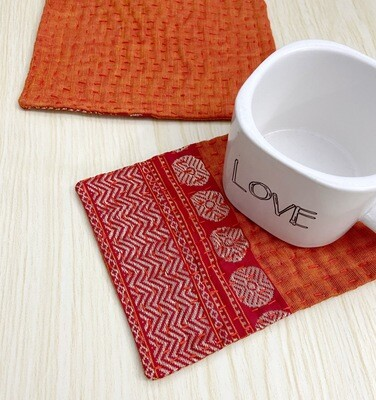 Rustic Fabric Coasters set of 2, Kantha Hand Quilted Coaster