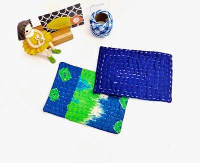 Blue Tie Dye Coasters set of 2, Kantha Hand Quilted Coaster, Side Table Décor, Indoor Plant Mat, Candle Mat, Home Gifts