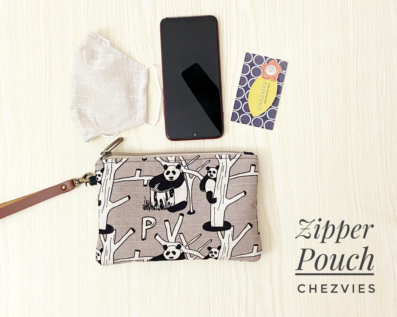 Cute Flat Zipper Phone Pouch - Grey Panda