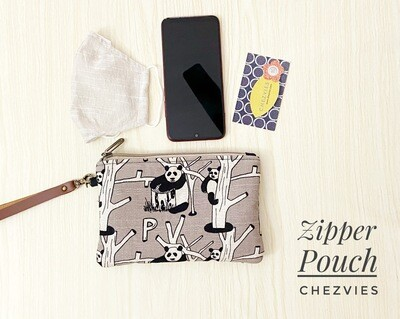 Cute Flat Zipper Phone Pouch - Grey Panda