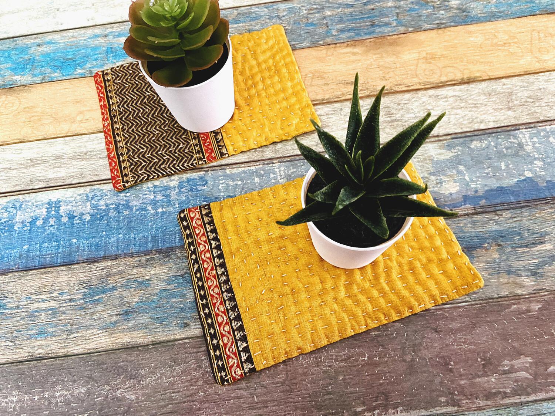 Mustard Yellow Fabric Coasters - Set Of 2