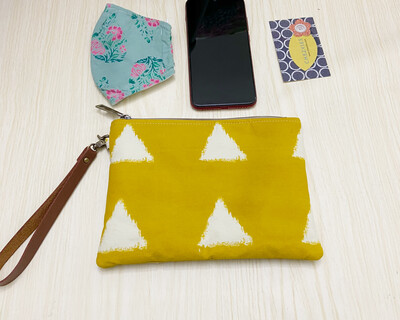 Flat Zipper Pouch - Block Print Yellow