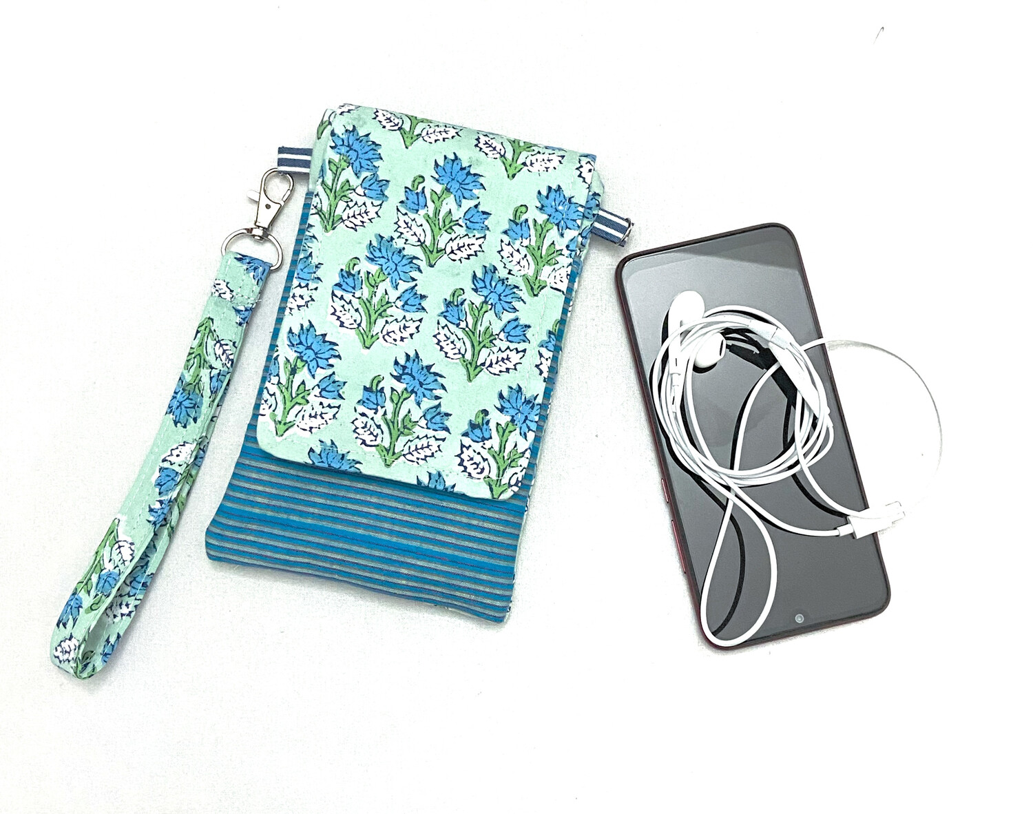 Floral Cell Phone Pouch with Lanyard