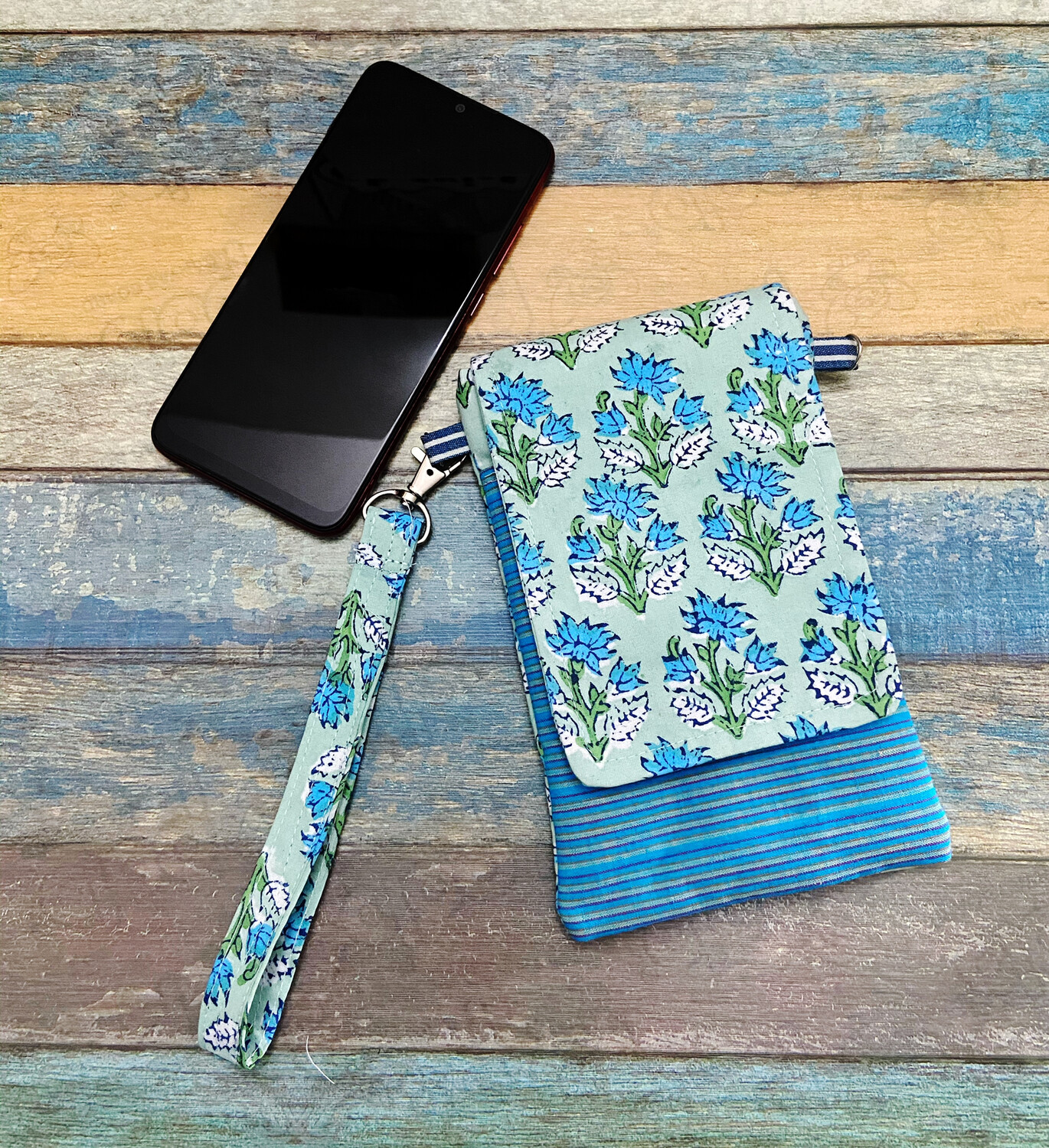 Block Print Cell Phone Pouch with Lanyard