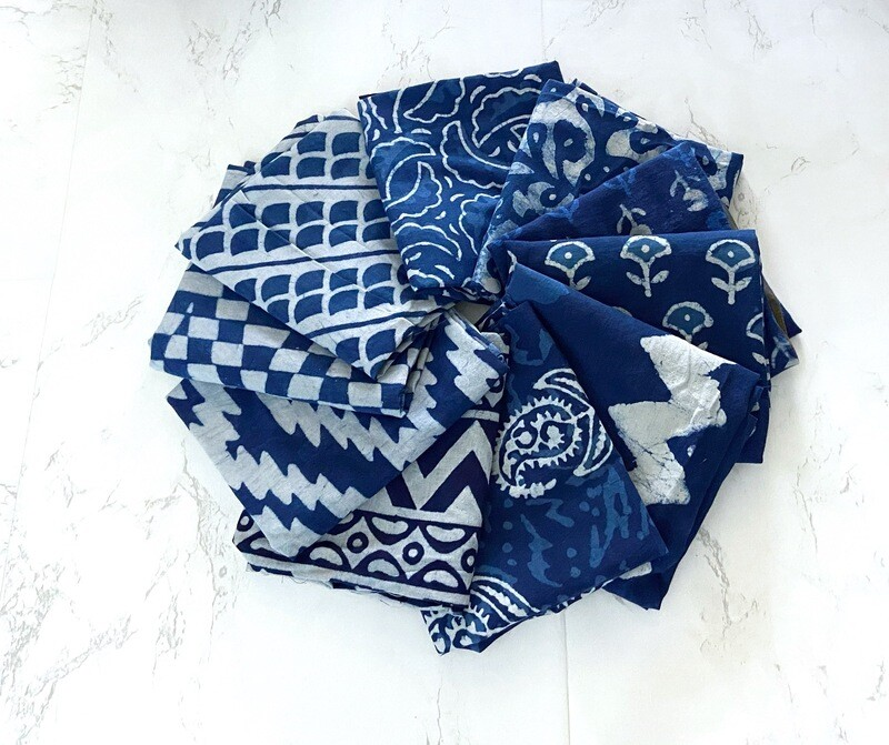 Indigo Block Print Fat Quarter Bundle - 10 FQ