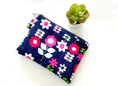 Blue Pink Floral Zipper Pouch