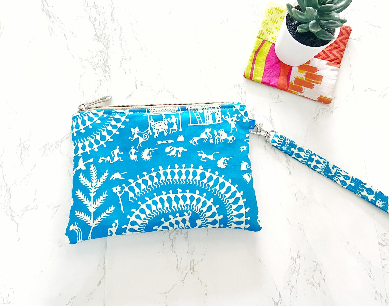 Warli Print Zipper Pouch - Blue