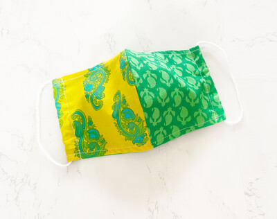 Block Print 2 Ply Cotton Face Mask - Yellow Green Patchwork - Adult Size