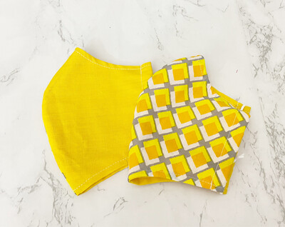 Patchwork 2 Ply Cotton Face Mask for Adult - Yellow