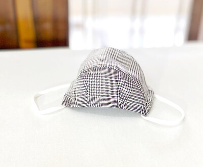 Black And White Plaid Face Mask -2 Layers Cotton Spacious 3D Face Mask