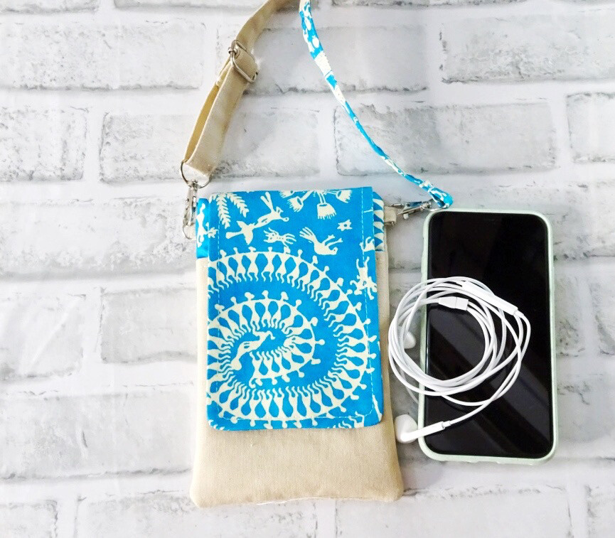 Handmade Mobile Phone Sling Bag - Warli Print Blue