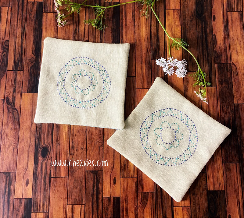 Embroidered Linen Coaster Set Of 2