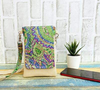 Mobile Sling Bag - Green Paisley