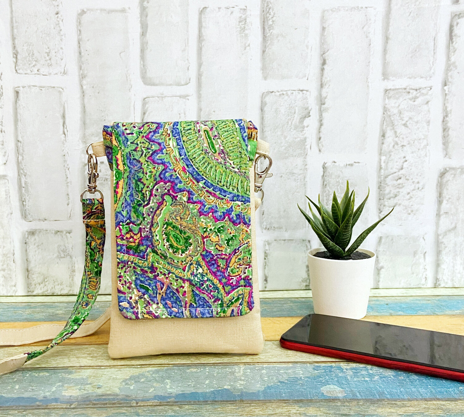Mobile Sling Bag - Green Paisley