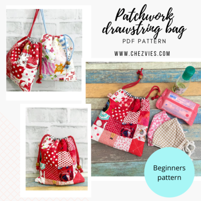 Pdf Pattern Patchwork Quilt Drawstring Bag