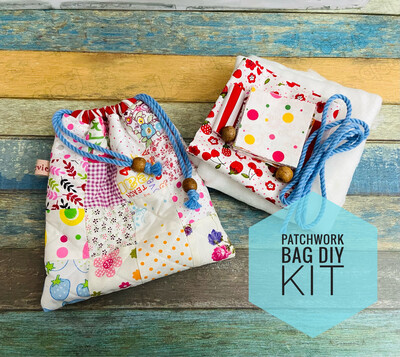 Pdf Pattern And Kit - Small Quilted Drawstring Bag - Pink