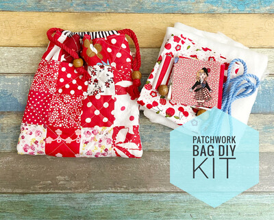Pattern Kit - Small Quilted Drawstring Bag - Red