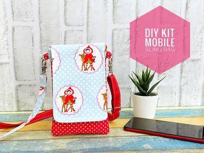 DIY KIT Mobile Sling Bag -Red Riding Hood Polkadot