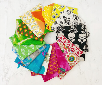 18 Fat Quarter Indian Fabric Bundle for Quilting and Crafting