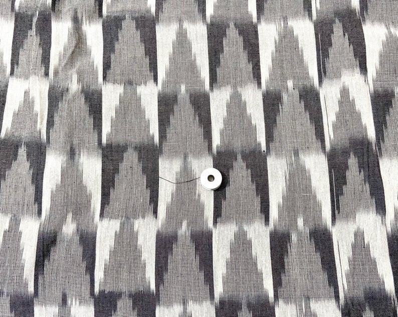 Grey Ikat Handloom  Cotton Fabric