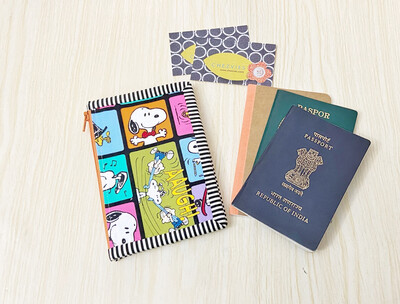 Snoopy B6 Travel Journal Passport Cover With Zipper Pocket