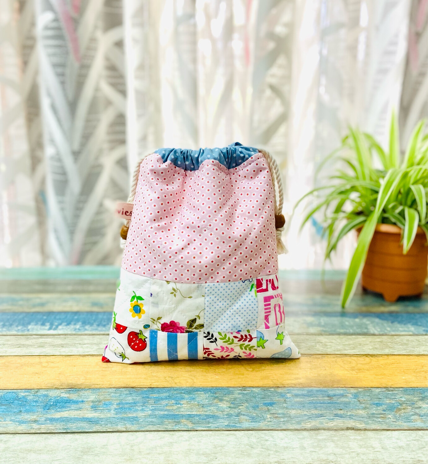 Quilted Drawstring Pouch - Pink