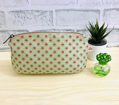 Small Floral MakeUp Pouch - Sage Green