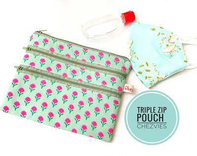 Small Floral Triple Zip Pouch