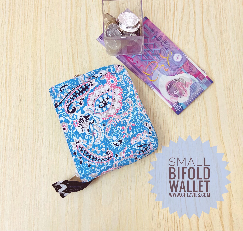 Zip Around Small Bifold Wallet - Blue Paisley