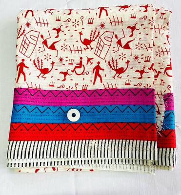 Red White Warli - Peacock And Hut - 1 Meter Cut