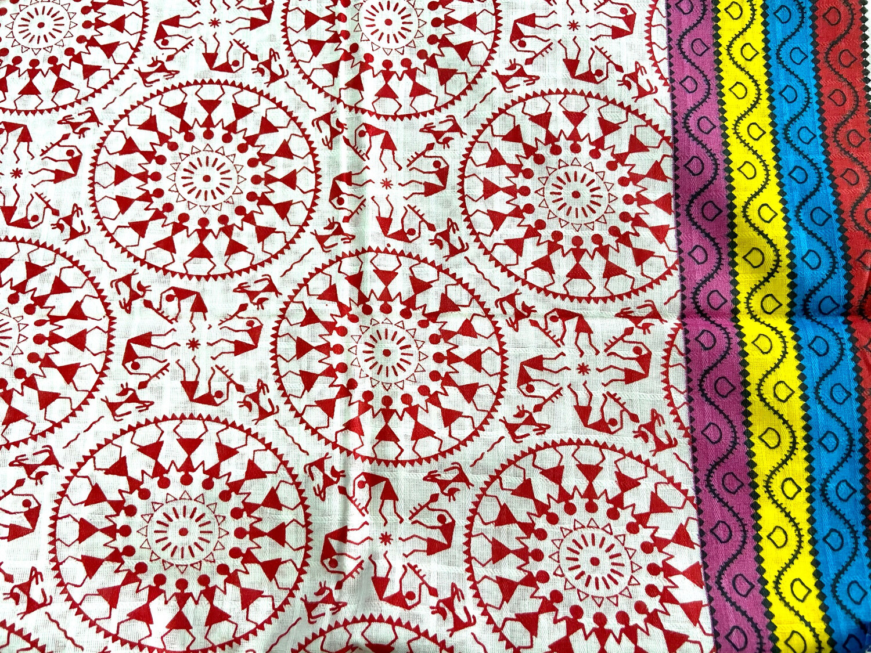 Red White Warli Print Cotton Fabric